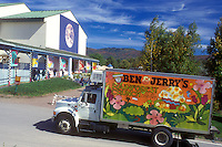 ice cream, Ben & Jerry's, factory, Waterbury, VT, Vermont, A Ben & Jerry's truck drives up to the Ben & Jerry's Ice Cream Factory in Waterbury.