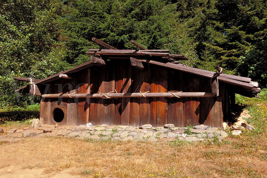 Traditional Yurok Nation redwood house built at Sumeg Village near the reservation, Klamath, California
