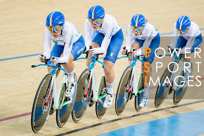 The team of Italy with Elisa Balsamo, Simona Frapporti, Francesca Pattaro and Silvia Valsecchi competes in the Women's Team Pursuit Finals as part of the 2017 UCI Track Cycling World Championships on 13 April 2017, in Hong Kong Velodrome, Hong Kong, China. Photo by Marcio Rodrigo Machado / Power Sport Images