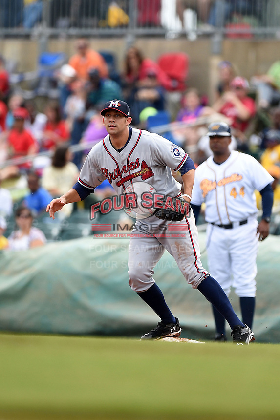 Mississippi Braves first baseman Seth Loman (22) waits for a throw during a game against the Montgomery Biscuits on April 22, 2014 at Riverwalk Stadium in Montgomery, Alabama.  Mississippi defeated Montgomery 6-2.  (Mike Janes/Four Seam Images)