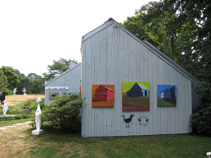 Paintings hang on a barn outside the Field Gallery on the island of Martha's Vineyard.