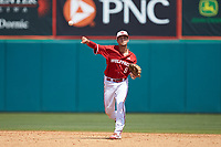 North Carolina State Wolfpack shortstop Will Wilson (8) makes a throw to first base against the Army Black Knights at Doak Field at Dail Park on June 3, 2018 in Raleigh, North Carolina. The Wolfpack defeated the Black Knights 11-1. (Brian Westerholt/Four Seam Images)