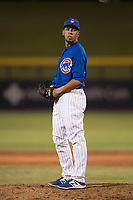 AZL Cubs 1 relief pitcher Fernando Calderon (57) prepares to deliver a pitch during an Arizona League game against the AZL Diamondbacks at Sloan Park on June 18, 2018 in Mesa, Arizona. AZL Diamondbacks defeated AZL Cubs 1 7-0. (Zachary Lucy/Four Seam Images)