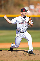 Starting pitcher Ian Horkley #26 of the Davidson Wildcats in action against the College of Charleston Cougars at Wilson Field on March 12, 2011 in Davidson, North Carolina.  The Wildcats defeated the Cougars 8-3.  Photo by Brian Westerholt / Four Seam Images