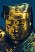 China:  Gilt-bronze lamp--detail.  Western Han,  first half of 2nd C. B.C.  Hebei Provincial Museum.  Great Bronze Age of  China--exhibition.