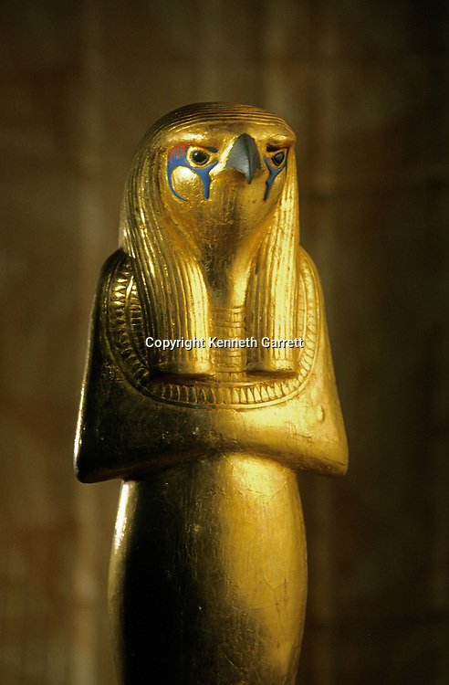 Statue of Herwer, Horus the Elder, gilded wood, 18th dynasty, New Kingdom, for the tomb of Tutankhamun, Thebes, Valley of the Kings, KV62, Tutankhamun and the Golden Age of the Pharaohs, p 205, artifact, Egyptian Museum, Cairo