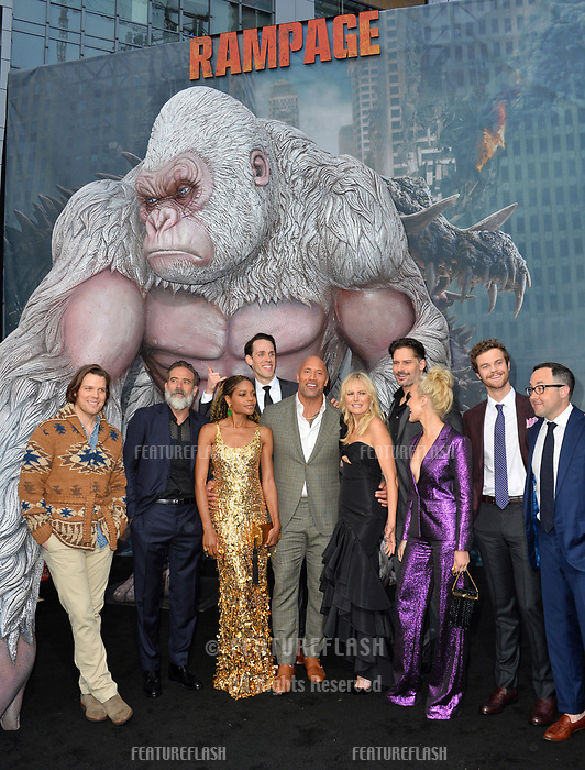 Jake Lacy, Jeffrey Dean Morgan, Naomie Harris, Jason Liles, Dwayne Johnson, Malin Akerman, Joe Manganiello, Breanne Hill, Jack Quaid &amp; P.J. Byrne at the premiere for &quot;Rampage&quot; at the Microsoft Theatre, Los Angeles, USA 04 April 2018<br /> Picture: Paul Smith/Featureflash/SilverHub 0208 004 5359 sales@silverhubmedia.com