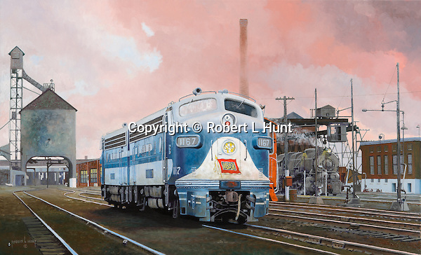 "A Wabash Railroad F3A diesel pair at Hawthorne, Indiana, engine maintenance facility with old steam locomotive coaling dock in the background. Oil on canvas, 19"" x 31""."
