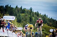 Julian Alaphilippe (FRA/Deceuninck Quick Step) and Geraint Thomas (GBR/Ineos) stowards the finish line. <br /> <br /> <br /> Stage 6: Mulhouse to La Planche des Belles Filles (157km)<br /> 106th Tour de France 2019 (2.UWT)<br /> <br /> ©kramon