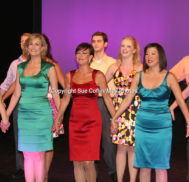Curtain Call - As The World Turns' Colleen Zenk Pinter (red) along with   Karen Mason (green) and Pearl Sun (turquoise) star as CAP 21 presents SUMMER STOCK NYC, a celebration of the Broadway Musical on July 17, 2010 at the Michael Schimmel Center for the Arts, Pace University, NYC. (Photo by Sue Coflin/Max Photos)