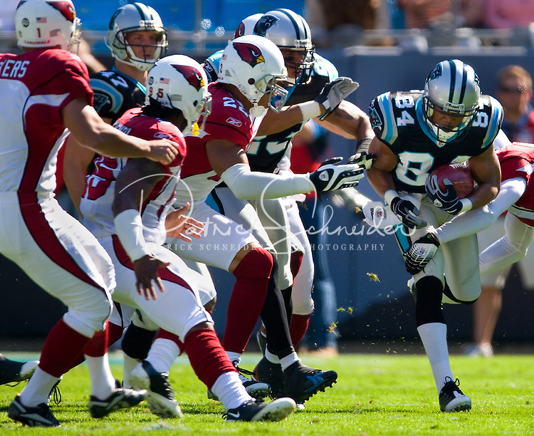 Carolina Panthers wide receiver Mark Jones (84) runs the ball against the Arizona Cardinals during an NFL football game at Bank of America Stadium in Charlotte, NC.