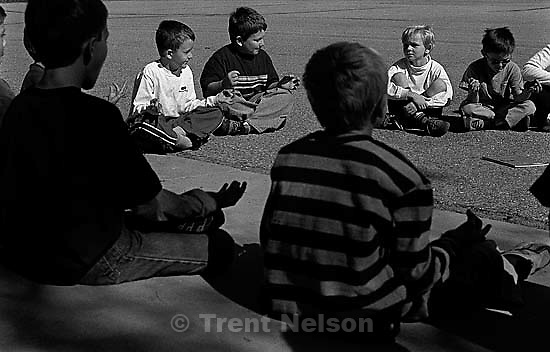 Noah's class does yoga at Hawthorne Elementary.&amp;#xA;10/12/2003<br />