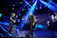 LONDON, ENGLAND - FEBRUARY 7: Keith Duffy and Ronan Keating of 'Boyzone' performing at the O2 Arena on February 7, 2019 as part of their 'Thank You &amp; Goodnight' Farewell Tour in London, England.<br /> CAP/MAR<br /> &copy;MAR/Capital Pictures
