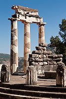 The sanctuary of Athena Pronaia, and the Tholos, Delphi, Greece