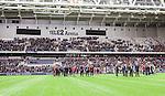 Stockholm 2014-04-06 Fotboll Allsvenskan Djurg&aring;rdens IF - Halmstads BK :  <br /> Tyst minut i Tele2 Arena f&ouml;r den Djurg&aring;rdssupporter som avled i samband med den allsvenska premi&auml;ren i Helsingborg<br /> (Foto: Kenta J&ouml;nsson) Nyckelord:  Djurg&aring;rden DIF Tele2 Arena Halmstad HBK supporter fans publik supporters tifo hyllning Myggan Stefan Isaksson