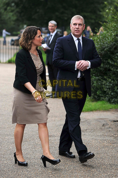guest & Prince Andrew, Duke of York.English National Ballet Summer Party, Hyde Park, London, England..June 27th, 2012.full length beige dress black blazer suit blue tie royal royalty .CAP/CAS.©Bob Cass/Capital Pictures.