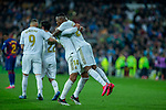 Real Madrid CF's Carlos H. Casemiro and Real Madrid CF's Vinicius Jr celebrates after scoring a goal during La Liga match. Mar 01, 2020. (ALTERPHOTOS/Manu R.B.)