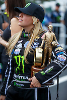 Mar 20, 2016; Gainesville, FL, USA; NHRA top fuel driver Brittany Force celebrates with the trophy after winning the Gatornationals at Auto Plus Raceway at Gainesville. Mandatory Credit: Mark J. Rebilas-USA TODAY Sports