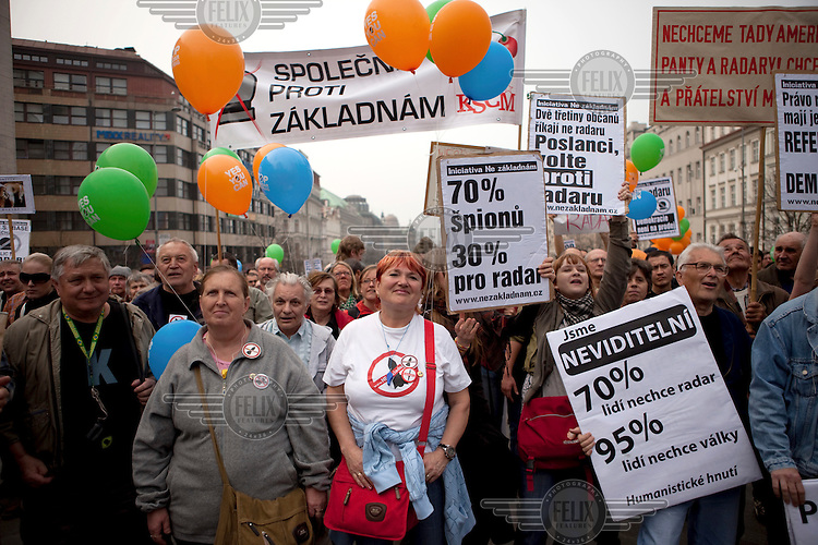 Protest against the planned US military radar base in the Czech Republic, held in Wenceslav Square on the day of Barack Obama's arrival in Prague.