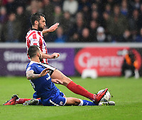 Lincoln City's Ollie Palmer vies for possession with Chesterfield's Robbie Weir<br /> <br /> Photographer Chris Vaughan/CameraSport<br /> <br /> The EFL Sky Bet League Two - Lincoln City v Chesterfield - Saturday 7th October 2017 - Sincil Bank - Lincoln<br /> <br /> World Copyright &copy; 2017 CameraSport. All rights reserved. 43 Linden Ave. Countesthorpe. Leicester. England. LE8 5PG - Tel: +44 (0) 116 277 4147 - admin@camerasport.com - www.camerasport.com