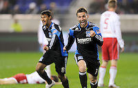 Bobby Convey (11) of the San Jose Earthquakes celebrates scoring. The San Jose Earthquakes defeated the New York Red Bulls 3-1, (3-2) on aggregate during the 2nd leg of the Major League Soccer (MLS) Eastern Conference Semifinals at Red Bull Arena in Harrison, NJ, on November 04, 2010.