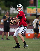 New York Jets quarterback Sam Darnold (14) looks for a receiver as he participates in a joint training camp practice with the Washington Redskins at the Washington Redskins Bon Secours Training Facility in Richmond, Virginia on Monday, August 13, 2018.<br /> Credit: Ron Sachs / CNP<br /> (RESTRICTION: NO New York or New Jersey Newspapers or newspapers within a 75 mile radius of New York City)