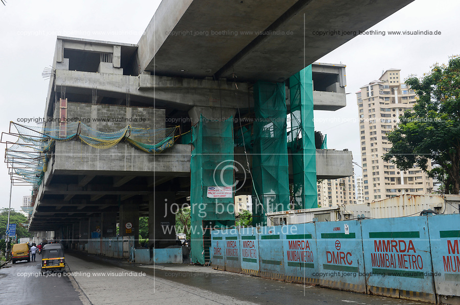 INDIA, Mumbai, suburban Goregoan, construction of bridges flyovers and station for new Mumbai Metro constructed by MMRDA Mumbai Metropolitan Region Development Authority and Mumbai Metro Railway Corporation Limited