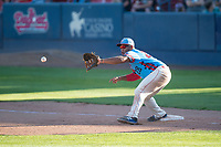 Spokane Indians first baseman Curtis Terry (28) waits to receive a throw during a Northwest League game against the Vancouver Canadians at Avista Stadium on September 2, 2018 in Spokane, Washington. The Spokane Indians defeated the Vancouver Canadians by a score of 3-1. (Zachary Lucy/Four Seam Images)