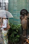 Tokyo, June 26 2013 -  Rainy day and Tanuki in Omotesando
