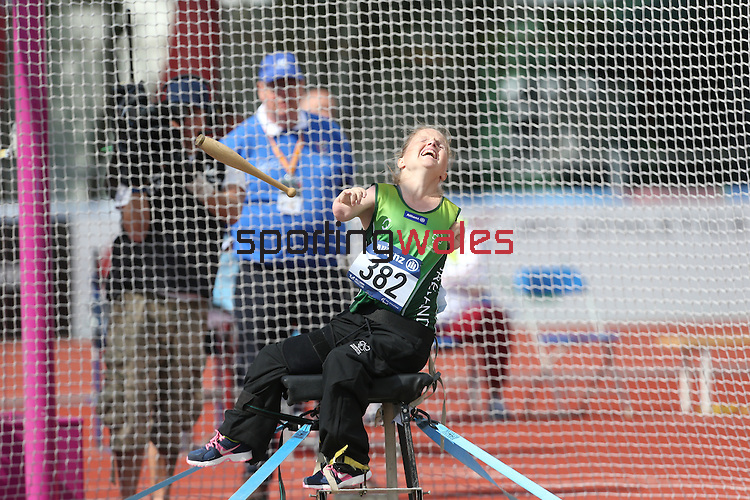 IPC European Athletics Championship 2014<br /> Catherine O'Neill (IRE) competing in the women's club throw F32/51.<br /> Swansea University<br /> <br /> 22.08.14<br /> ©Steve Pope-SPORTINGWALES