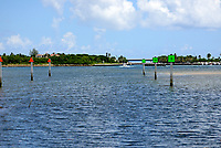 Intracoastal Channel Markers leading to the Boynton Beach Inlet, and the Atlantic Ocean. Photographed at Boynton Beach Intracoastal Park.