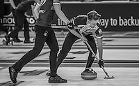 Glasgow. SCOTLAND.  Ross PATTERSON,  &quot;Sweeping&quot;,  &quot;Round Robin&quot; Game. Le Gruy&egrave;re European Curling Championships. 2016 Venue, Braehead  Scotland<br /> Tuesday  22/11/2016<br /> <br /> [Mandatory Credit; Peter Spurrier/Intersport-images]