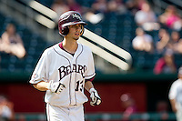 Kevin Medrano (13) of the Missouri State Bears runs to first base after being walked during a game against the Wichita State Shockers on April 9, 2011 at Hammons Field in Springfield, Missouri.  Photo By David Welker/Four Seam Images