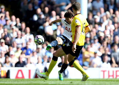 April 8th 2017,White Hart Lane, Tottenham, London, England; EPL Premier league football, Tottenham Hotspur versus Watford; Son Heung-Min of Tottenham Hotspur attempting to score a hat trick from a volley passed Craig Cathcart of Watford