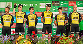 6th September 2017, Mansfield, England; OVO Energy Tour of Britain Cycling; Stage 4, Mansfield to Newark-On-Trent;  The Team Lotto.NI-Jumbo team pose for photos after registration sign-in at Mansfield