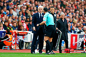 9th September 2017, bet365 Stadium, Stoke-on-Trent, England; EPL Premier League football, Stoke City versus Manchester United; Manchester United Manager Jose Mourinho exchanges words with Referee Neil Swarbrick