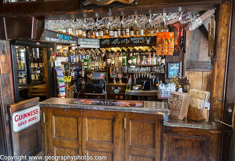 Inside traditional pub interior of Haunch of Venison public house, Salisbury, Wiltshire, England, UK