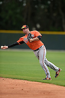 Infielder Kristopher Richards (6) of the Baltimore Orioles organization during a minor league spring training camp day game on March 23, 2014 at Buck O'Neil Complex in Sarasota, Florida.  (Mike Janes/Four Seam Images)