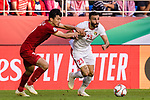Ehsan Manel Haddad of Jordan (R) fights for the ball with Doan Van Hau of Vietnam (L) during the AFC Asian Cup UAE 2019 Round of 16 match between Jordan (JOR) and Vietnam (VIE) at Al Maktoum Stadium on 20 January 2019 in Dubai, United Arab Emirates. Photo by Marcio Rodrigo Machado / Power Sport Images