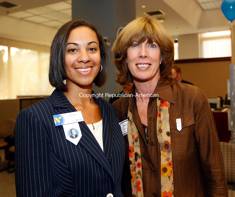 Waterbury, CT- 11, October 2010-101110CM14 SOCIAL MOMENT L-R Selena Smith and Kathy Luria, from Webster Bank at the Webster Bank 75th Anniversary in Waterbury. Christopher Massa Republican-American