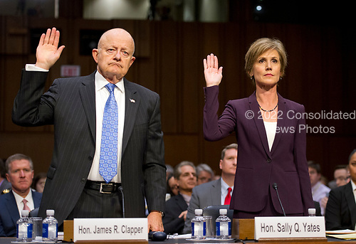 Former Director of National Intelligence of the United States James R. Clapper, left, and former Acting Attorney General of the US Sally Q. Yates, right, are sworn-in to testify before the US Senate Committee on the Judiciary Subcommittee on Crime and Terrorism hearing titled &ldquo;Russian Interference in the 2016 United States Election&rdquo; on Capitol Hill in Washington, DC on Monday, May 8, 2017.<br /> Credit: Ron Sachs / CNP<br /> (RESTRICTION: NO New York or New Jersey Newspapers or newspapers within a 75 mile radius of New York City)