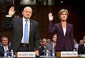 """Former Director of National Intelligence of the United States James R. Clapper, left, and former Acting Attorney General of the US Sally Q. Yates, right, are sworn-in to testify before the US Senate Committee on the Judiciary Subcommittee on Crime and Terrorism hearing titled """"Russian Interference in the 2016 United States Election"""" on Capitol Hill in Washington, DC on Monday, May 8, 2017.<br /> Credit: Ron Sachs / CNP<br /> (RESTRICTION: NO New York or New Jersey Newspapers or newspapers within a 75 mile radius of New York City)"""