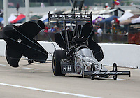 Apr 26, 2014; Baytown, TX, USA; NHRA top fuel driver Shawn Langdon during qualifying for the Spring Nationals at Royal Purple Raceway. Mandatory Credit: Mark J. Rebilas-