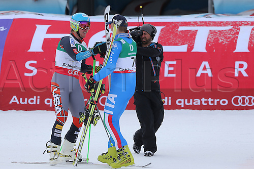 15.02.2013, Schladming, Austria. Left, Ted LIGETY (USA) and Manfred Moelgg (ITA) in action during the Giant Slalom of  the FIS Alpine World Ski Championships 2013