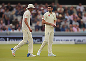 7th September 2017, Lords Cricket Ground, London, England; International Test Match Series, Third Test, Day 1; England versus West Indies; England Bowler James Anderson chats with team mate Stuart Broad as he prepares to start his over