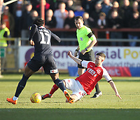 Fleetwood Town's Jason Holt battles with Luton Town's Pelly Ruddock <br /> <br /> Photographer Mick Walker/CameraSport<br /> <br /> The EFL Sky Bet League One - Fleetwood Town v Luton Town - Saturday 16th February 2019 - Highbury Stadium - Fleetwood<br /> <br /> World Copyright © 2019 CameraSport. All rights reserved. 43 Linden Ave. Countesthorpe. Leicester. England. LE8 5PG - Tel: +44 (0) 116 277 4147 - admin@camerasport.com - www.camerasport.com
