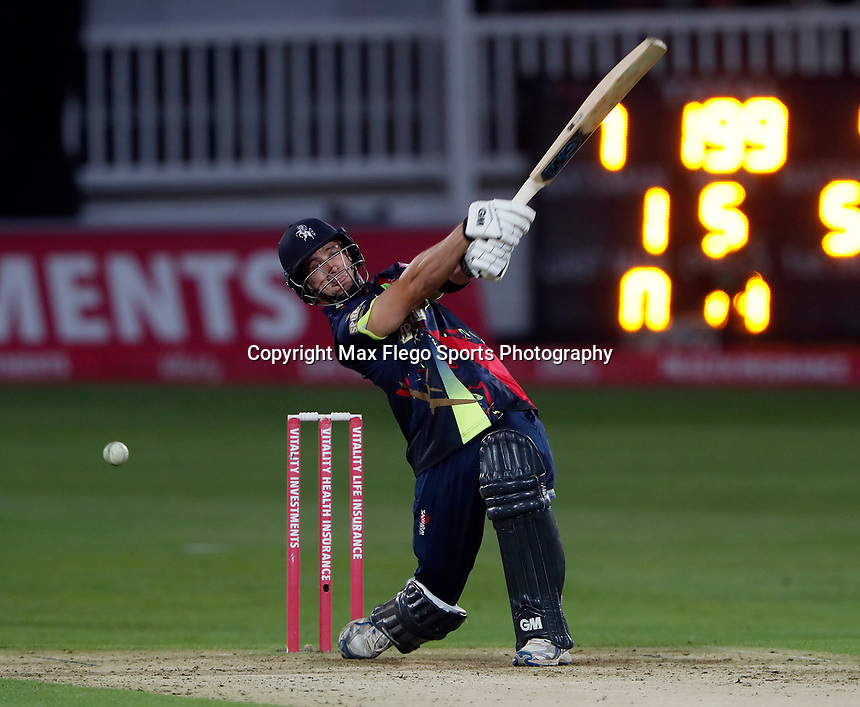Sean Dickson hits out for Kent during the Vitality Blast T20 game between Kent Spitfires and Somerset at the St Lawrence Ground, Canterbury, on Thur Aug 16, 2018