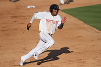 Wisconsin Timber Rattlers outfielder Brandon Diaz (5) rounds third base during a Midwest League game against the Quad Cities River Bandits on July 17th, 2015 at Fox Cities Stadium in Appleton, Wisconsin. Quad Cities defeated Wisconsin 4-2. (Brad Krause/Four Seam Images)