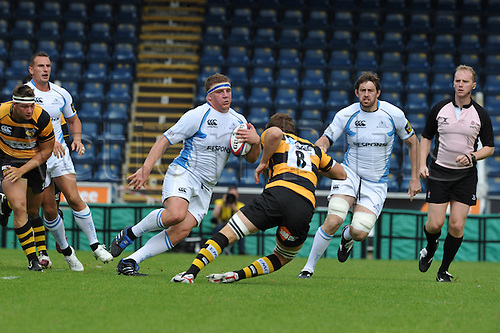 28.08.2010 Moray Low prop of Glasgow Warriors in action during the Rugby Union match from Adams Park Wycombe Buckinghamshire. London Wasps take on Glasgow Warriors in a pre season friendly.