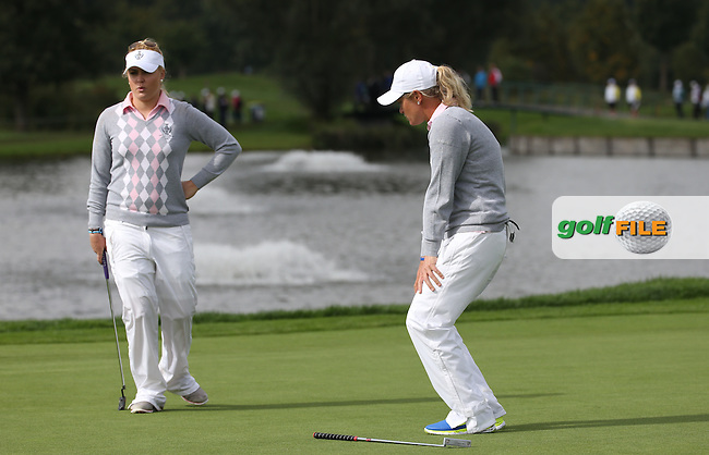Suzann Pettersen (NOR) missing a putt for 3DN on the 10th during Saturday morning's Foursomes, at The Solheim Cup 2015 played at Golf Club St. Leon-Rot, Mannheim, Germany.  19/09/2015. Picture: Golffile | David Lloyd<br /> <br /> All photos usage must carry mandatory copyright credit (&copy; Golffile | David Lloyd)